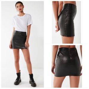 Hugo Buscati Black Genuine Leather Mini Skirt